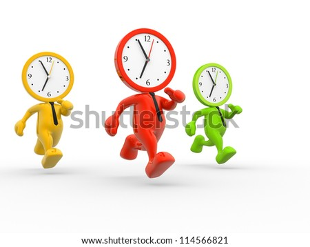 3d people - men, person running out of time. A clock - stock photo