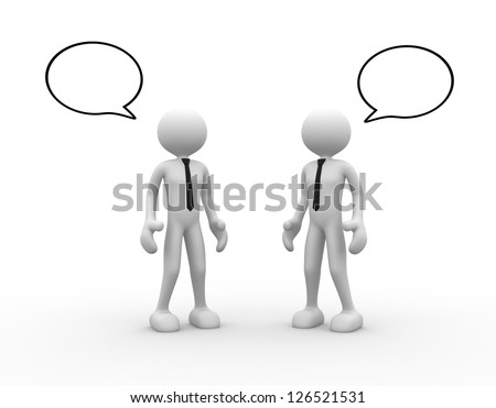 3d people - men, person standing and talking with speech bubbles.