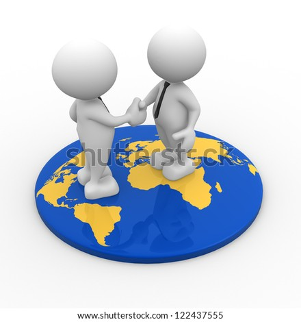 3d people - men, person standing on world map and shaking hand