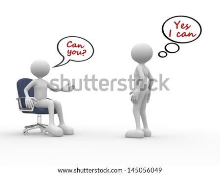 3d people - men, person talking. Employee and employer - stock photo