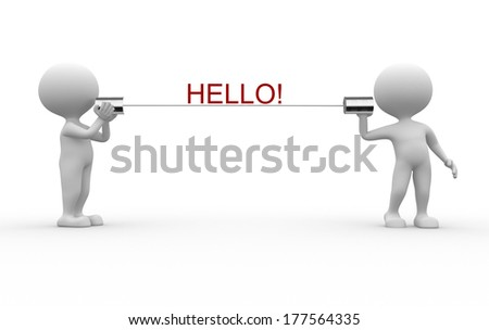 3d people - men, person talking on a homemade can phone. Hello! - stock photo