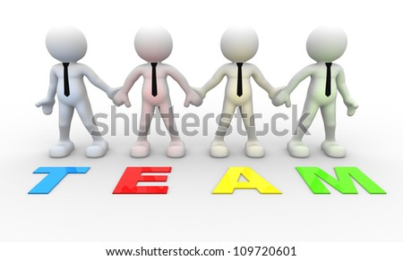 "3d people - men, person together and word ""Team"" . Businessman."