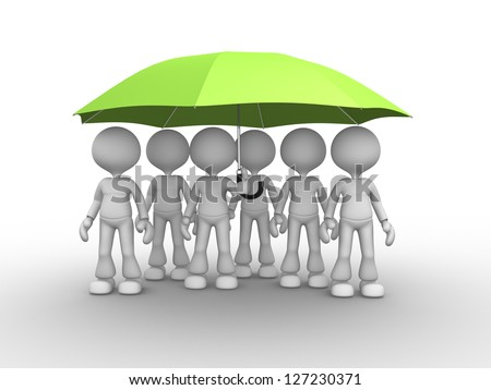 3d people - men, person under a green umbrella. Leadership and team - stock photo