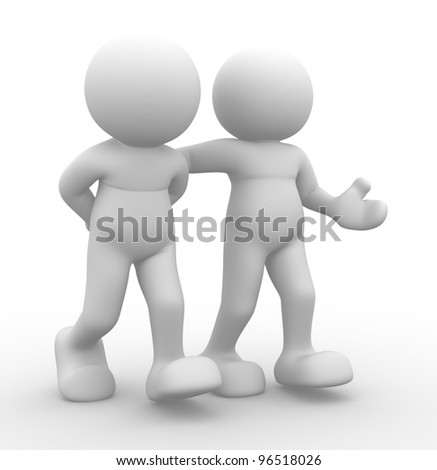 3d people - men, person walking with to hands behind and a friend