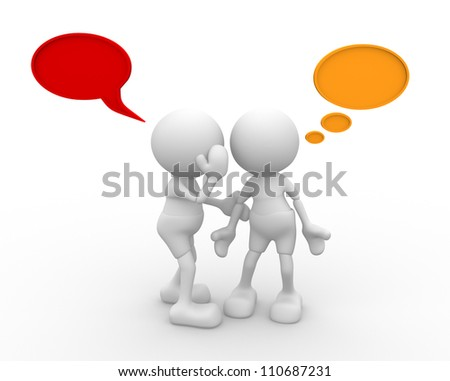 3d people - men, person whispered at ear. - stock photo