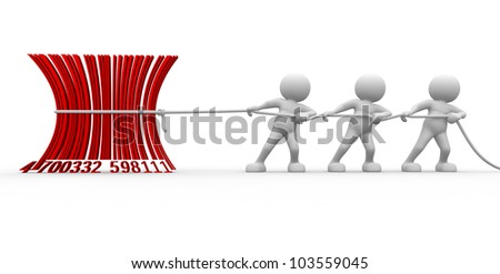 3d people - men , person with a bar- code.  Barcode - stock photo