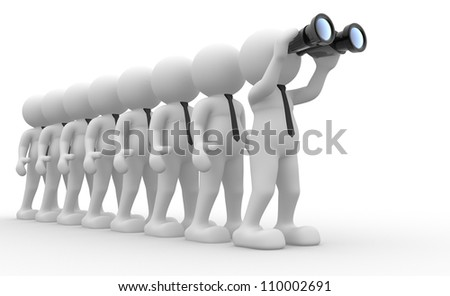 3d people - men,  person  with a binocular.  Search Concept - stock photo