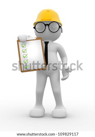 3d people - men , person with a clipboard. Engineer
