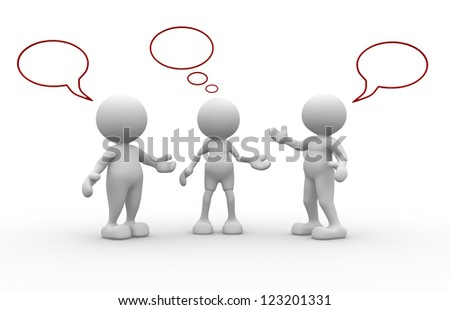 3d people - men, person with blank bubbles - stock photo
