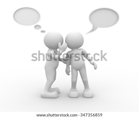 3d people - men, person with blank bubbles. - stock photo