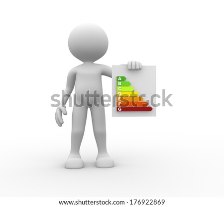 3d people - men, person with board. Energy efficiency concept. - stock photo