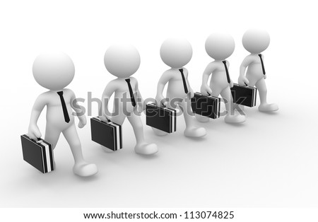 3d people - men, person with briefcase and tie. Businessmen. Teamwork.