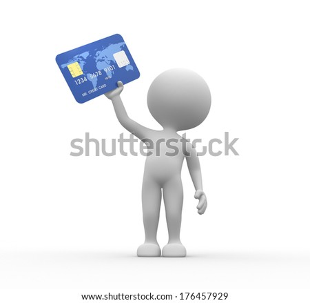 3d people - men, person with credit card - stock photo
