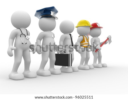 3d people - men, person with different professions. Doctor, policeman, businessman, engineer, fireman