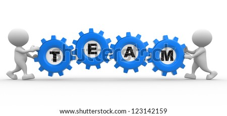 3d people - men, person with gear mechanism and word team. - stock photo