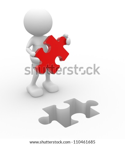 3d people - men, person with last  piece of puzzle.