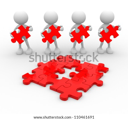 3d people - men, person with last  piece of puzzle. - stock photo