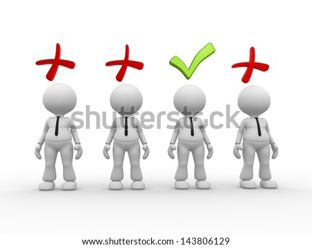 3d people - men, person with positive and negative symbol. - stock photo