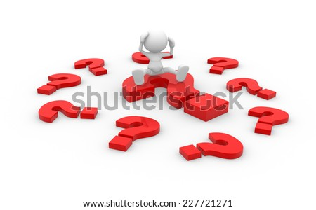3d people - men, person with question mark - stock photo