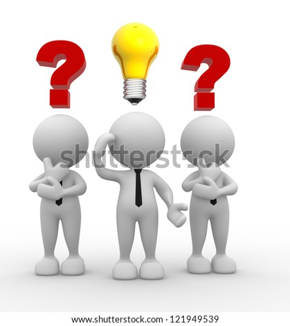 3d people - men, person with question marks and a light bulb. Intelligence - stock photo