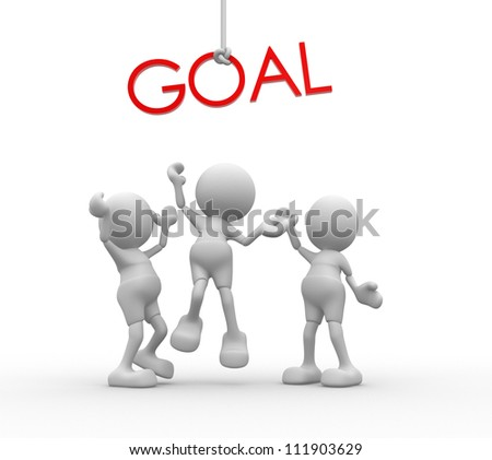 """3d people - men, person with red word """"goal"""" . - stock photo"""