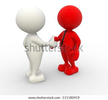 3d people -  men, person with tie. Handshake. Businessman - stock photo