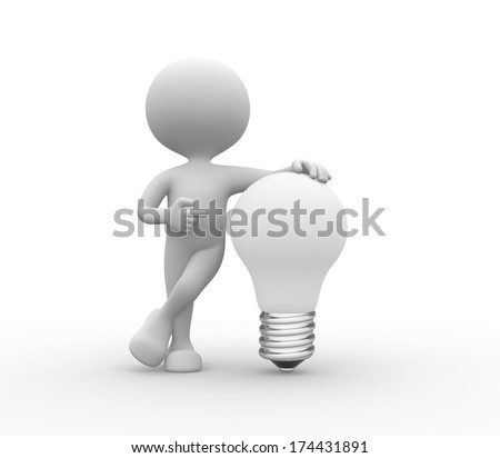 3d people - men, person with white light bulb