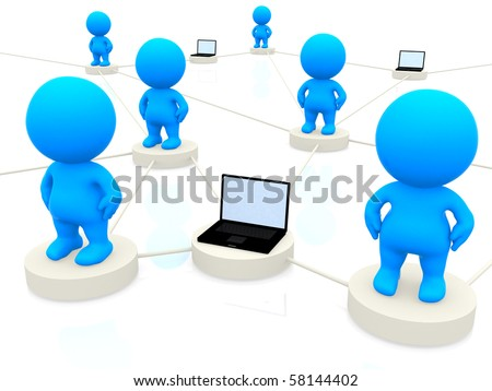 3D people networking with laptop computers isolated over a white background - stock photo