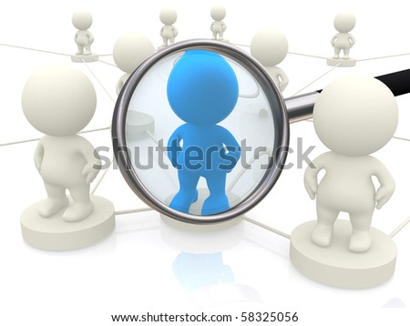 3d people networking with magnifier isolated over a white background - stock photo