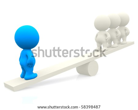 3d people on a seesaw isolated over a white background - stock photo