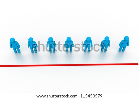 3d people on a starting line - stock photo