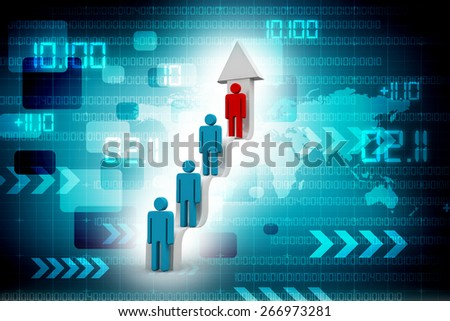 3d people on concept career ladder arrow steps - stock photo