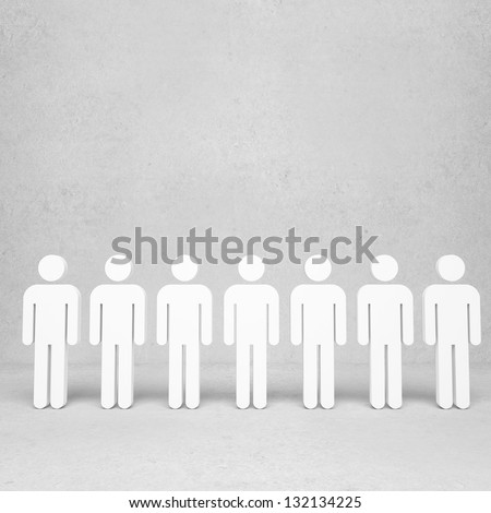 3d people on concrete room
