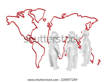 3D people on meeting in front of a world map - stock photo