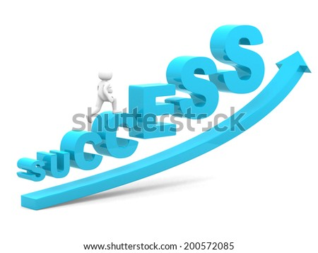 3d people on success stair- 3d render illustration - stock photo