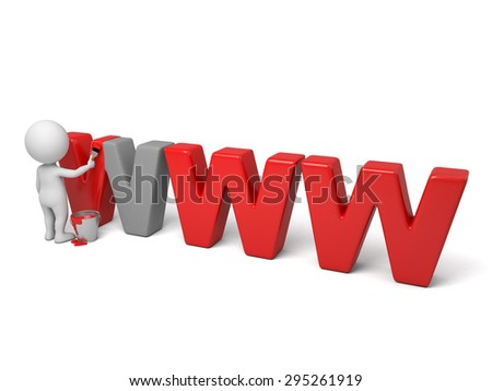 3d people paint the letter of www. Isolated white background - stock photo