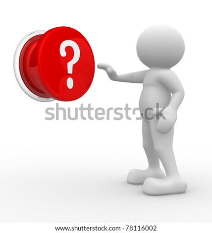 3d people pressing question mark button- This is a 3d render illustartion - stock photo