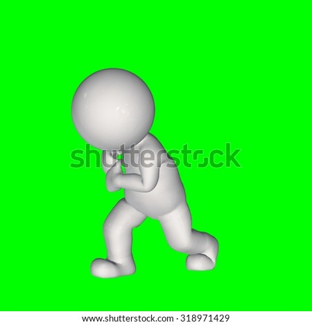 3D People -  pull samething 2 - green screen