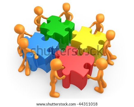 3d people pushing four jigsaw puzzle pieces . - stock photo