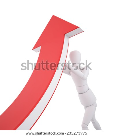 3d people pushing red arrow, Concept of Growth, Clipping path - stock photo