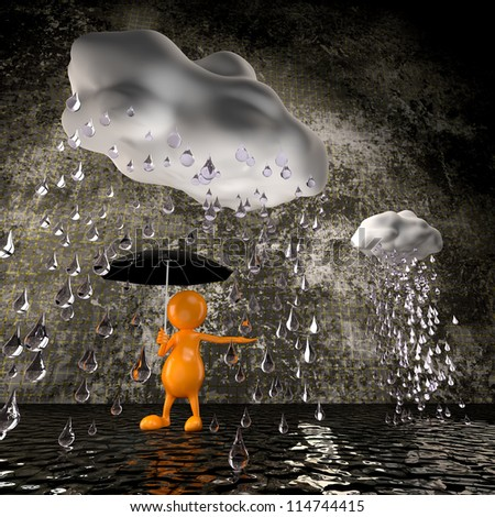 3d people rain with big raindrops - stock photo