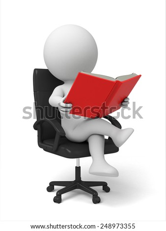 3d people reading the book sitting in a chair. 3d image. Isolated white background