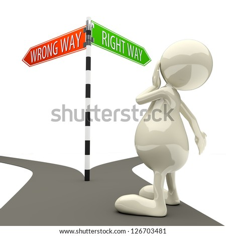 3D People Road Sign Wrong Way Right Way on White Background - stock photo