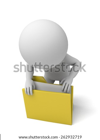 3d people searching a folder. 3d image. Isolated white background