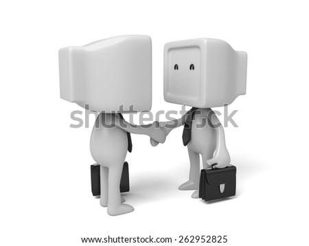 3d people shake hands. Concept of partnership. 3d image. Isolated white background