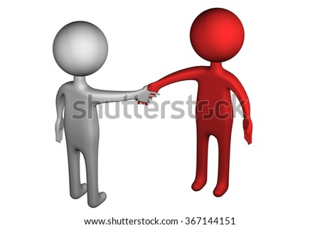 3D People shaking hands, isolated on white background.