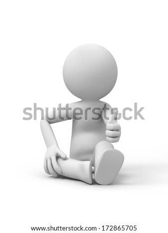3d people showing OK sign - stock photo