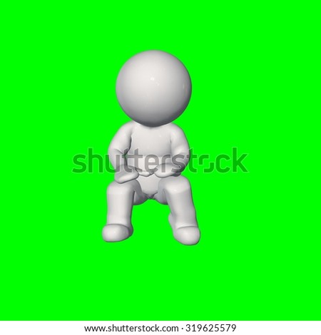 3D people - sit talk 2 - green screen