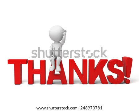 3d people sitting on a text of thanks. 3d image. Isolated white background. - stock photo