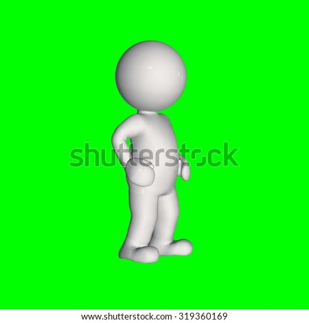 3D people - stand 4 - green screen